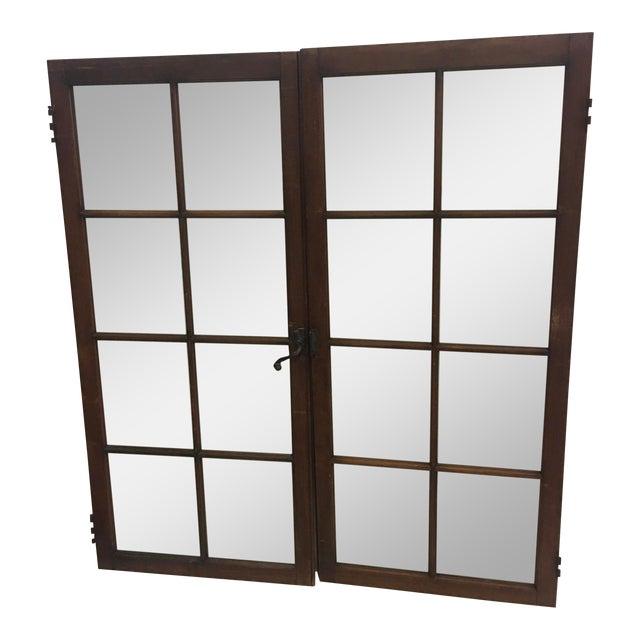 19th Century Philadelphia 2 Panel Walnut Wood Window For Sale
