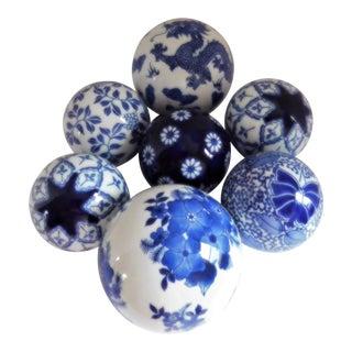 Blue Vintage Chinoiserie Carpet Balls - Set of 7 For Sale