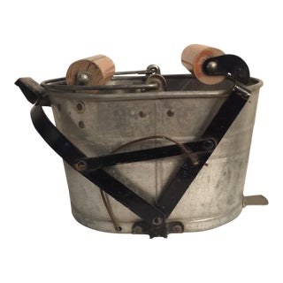 Antique Industrial Galvanized Metal Mop/Wash Bucket For Sale