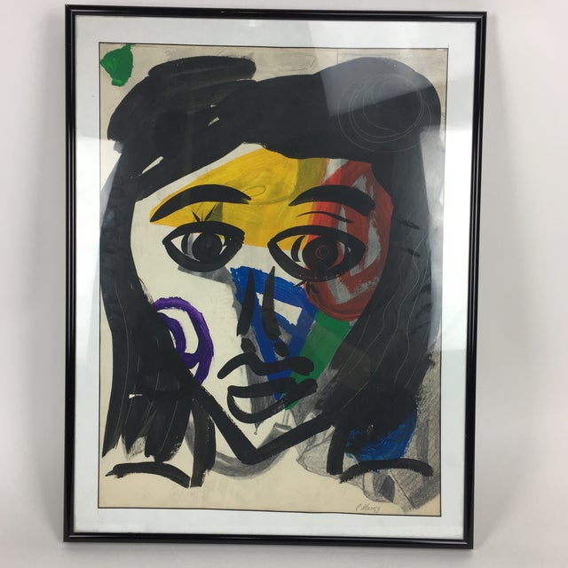 Abstract Peter Keil 1959 Colorful Face Abstract Painting For Sale - Image 3 of 8