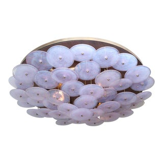 Custom Murano Glass Disc Flush Mount Fixture For Sale