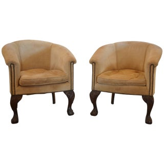 Vintage Barrel Back Chairs in Suede With Ball and Claw For Sale