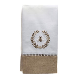 Napoleon Bee Wreath Guest Towel, Beigein Combo Linen, Embroidered For Sale