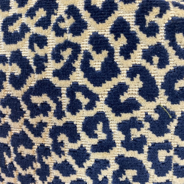 """Custom pair of 22"""" pillows covered in Scalamandre """"Pathere Velvet"""" In indigo and backed in a coordinating navy linen..."""