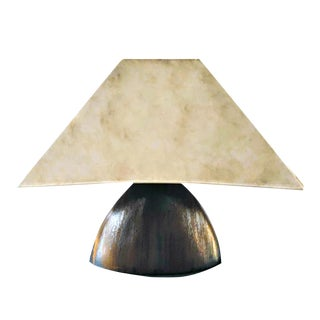 1950s Mid-Century Triangular Ceramic Teak Faux Bois Danish Style Lamp With Hand Painted Shade For Sale