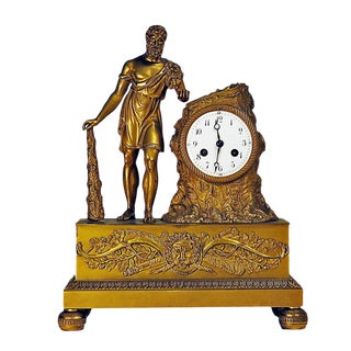 Circa 1820 Empire Period Gilt Bronze Clock Depicting Hercules