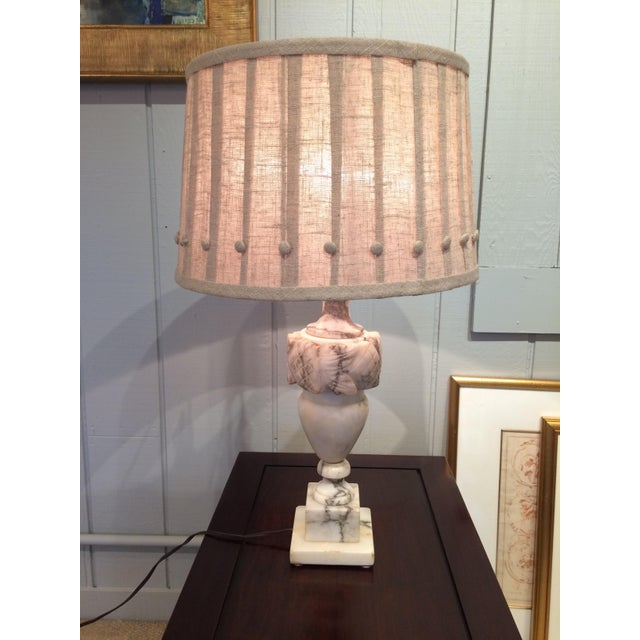 Neoclassical Marble Table Lamps With Custom Shades - A Pair For Sale - Image 3 of 8