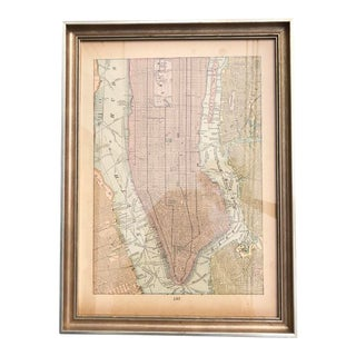 1898 Antique Framed New York City Map For Sale