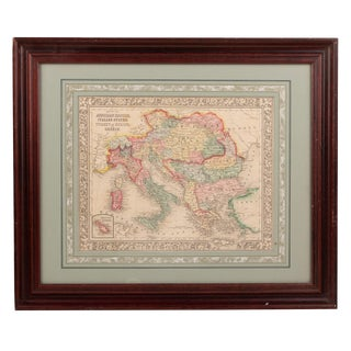 Late 19th Century Samuel Augustus Mitchell Hand-Colored Lithographed Map of the Austrian Empire, Italian States, Turkey in Europe and Greece For Sale