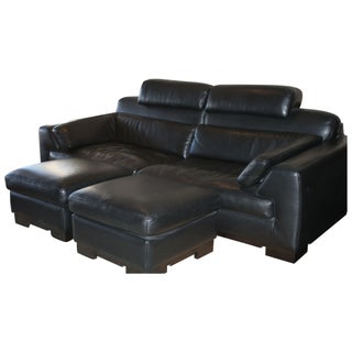 Black Leather Roche Bobois Sofa with Ottmans