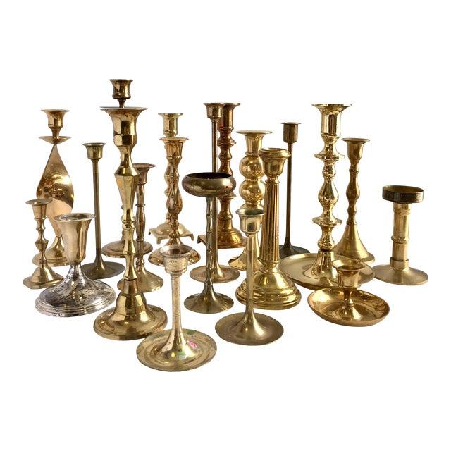 Vintage Brass Candlesticks - Lot of 21 For Sale