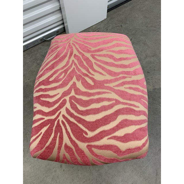 French Carved Stool With Pink Zebra Print Fabric For Sale - Image 9 of 13