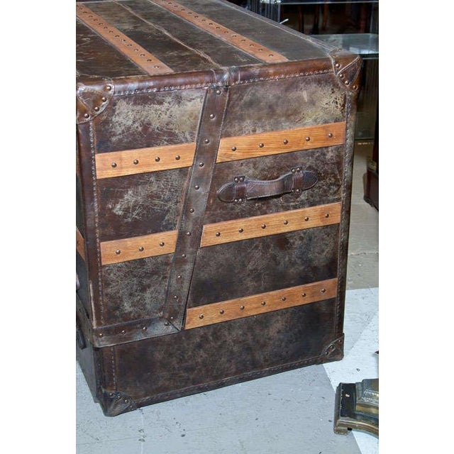 Rustic Leather and Cowhide Trunk Desk For Sale - Image 3 of 9