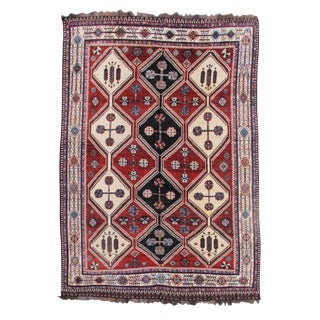 Red & Indigo Persian Luri Rug - 7′4″ × 10′5″