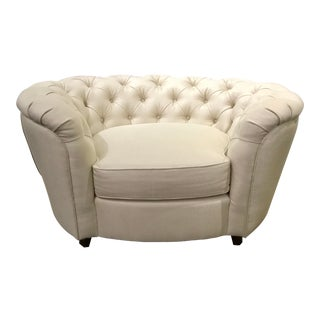Caracole Modern Large White Tufted Everly Club Chair For Sale