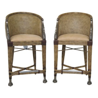 Modern Maitland Smith Leather Seat Brass Swan Bar Chairs- A Pair For Sale