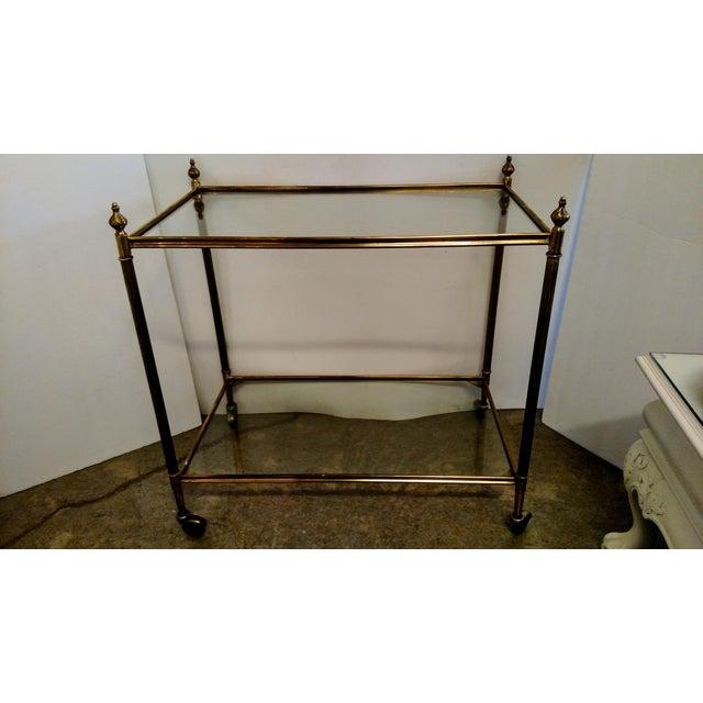 Vintage Brass Bar Cart For Sale - Image 4 of 9