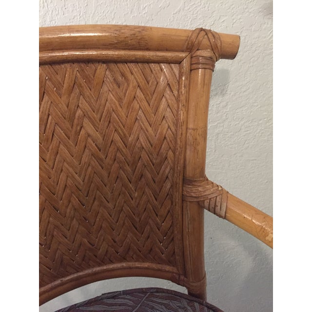 Brown Vintage Whitecraft Rattan Swivel Barstool For Sale - Image 8 of 9