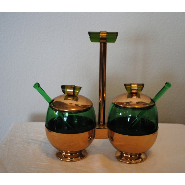 1940s Art Deco Emerald Glo Green Condiment Set For Sale - Image 4 of 6