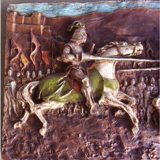 1960s Medieval Roman 1960's J. Segura Wall Sculpture Knight Joust Lances Renaissance Middle Ages For Sale - Image 5 of 10