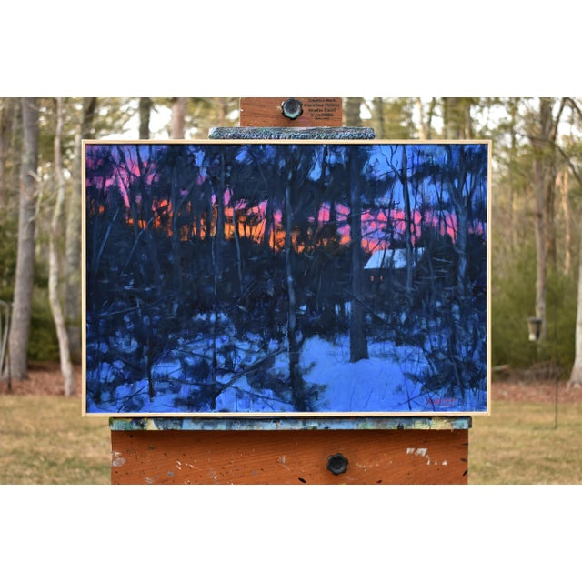 """Blue """"Sunrise From the Woods"""" Contemporary Landscape Acrylic Painting by Stephen Remick, Framed For Sale - Image 8 of 11"""