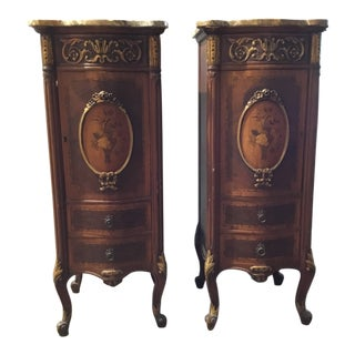 1900s Louis XV Floral Inlaid Wood Nightstands - a Pair For Sale