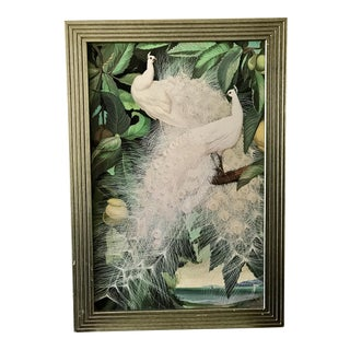 Vintage White Peacock Textured Print For Sale