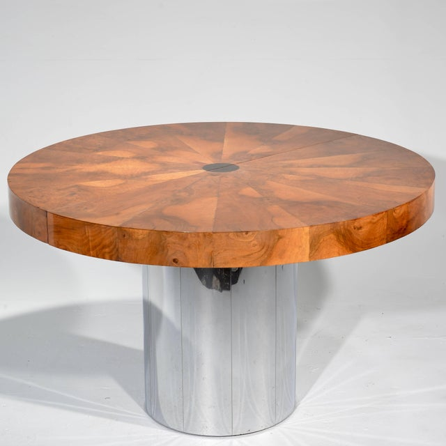 Amazing vintage Paul Evans Cityscape burl wood and stainless steel dining table. Starburst design. Includes one table leaf...