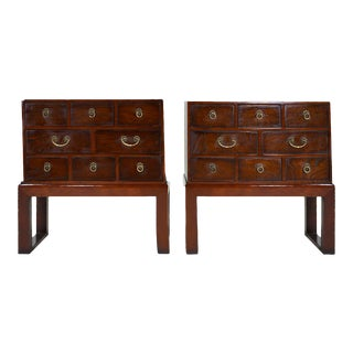 Vintage Chinoiserie Bandaji Style Stacking Box Side Tables - a Pair For Sale