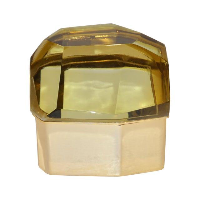 Toso Italian Modern Diamond-Shaped Gold Murano Glass and Brass Jewel-Like Box For Sale - Image 10 of 10