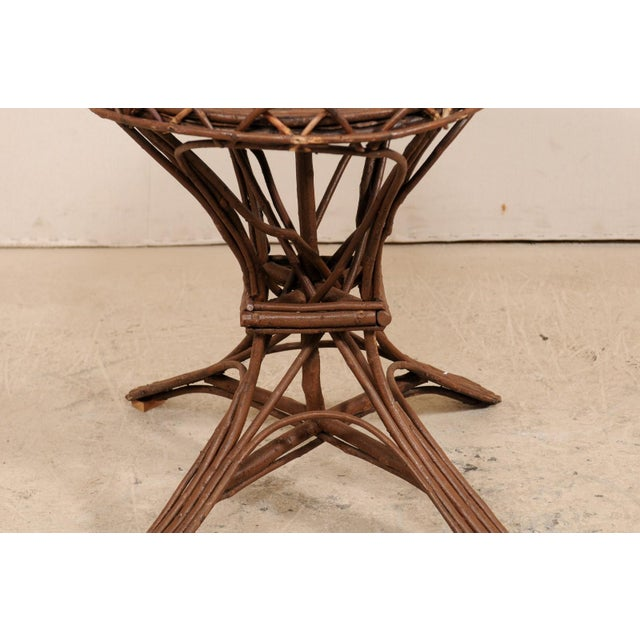 20th Century Swedish Wood Twig and Reed Oval Side Table For Sale - Image 11 of 12