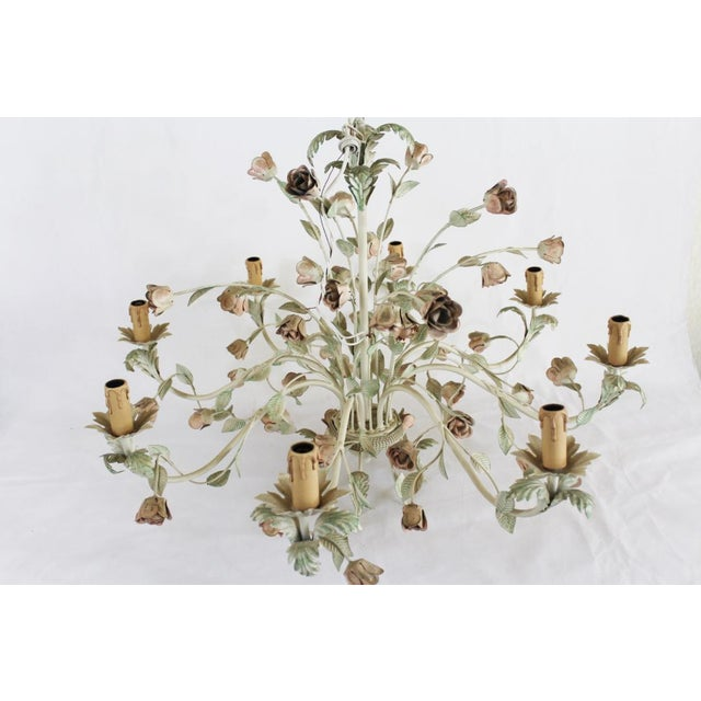 Italian 1940s Italian Toleware Chandelier For Sale - Image 3 of 8