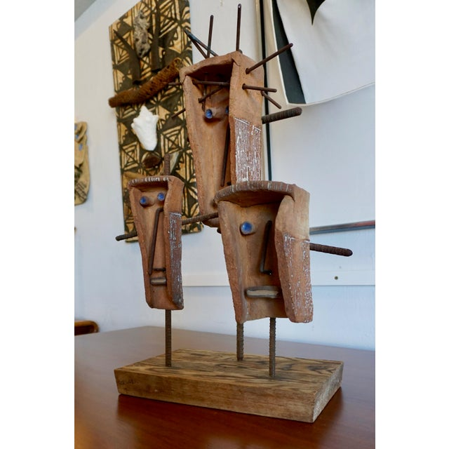 Ceramic, Steel and Wood Sculpture by Hal Riegger For Sale In Palm Springs - Image 6 of 8