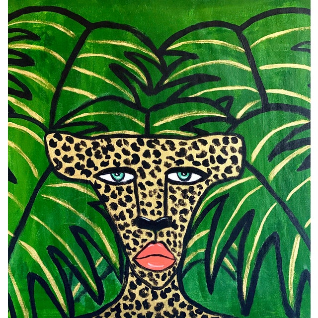 Expressionism Cheetah in the Leaves Painting For Sale - Image 3 of 3