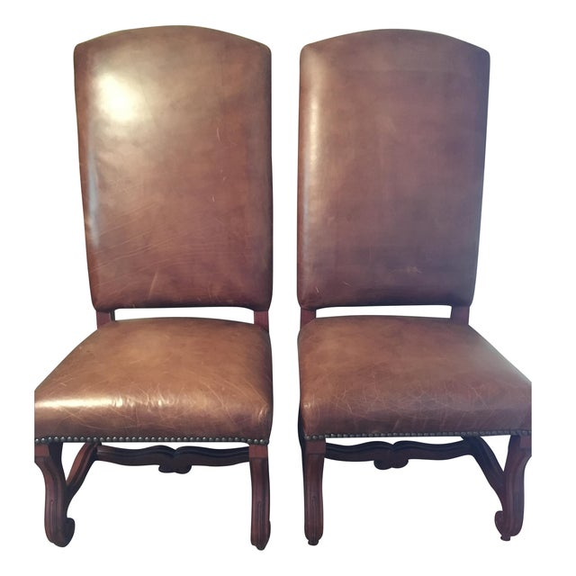 Ralph Lauren Leather Dining or Accent Chairs - S/2 - Image 1 of 8