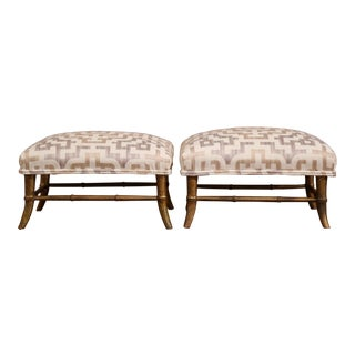 Pair of 19th Century French Louis Philippe Giltwood Footstools With New Fabric