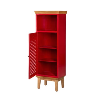 Modern Fire-Engine Red Accent Cabinet For Sale