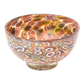 Murano Fratelli Toso Orange, Purple, Yellow, Blue, Green and White Murrine Glass Bowl For Sale