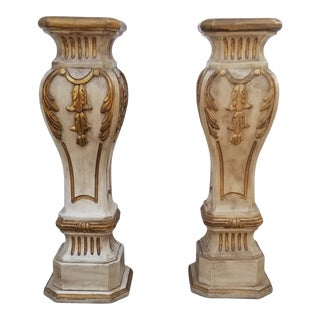 Vintage 1960s Gilt Wood Pedestals - a Pair For Sale