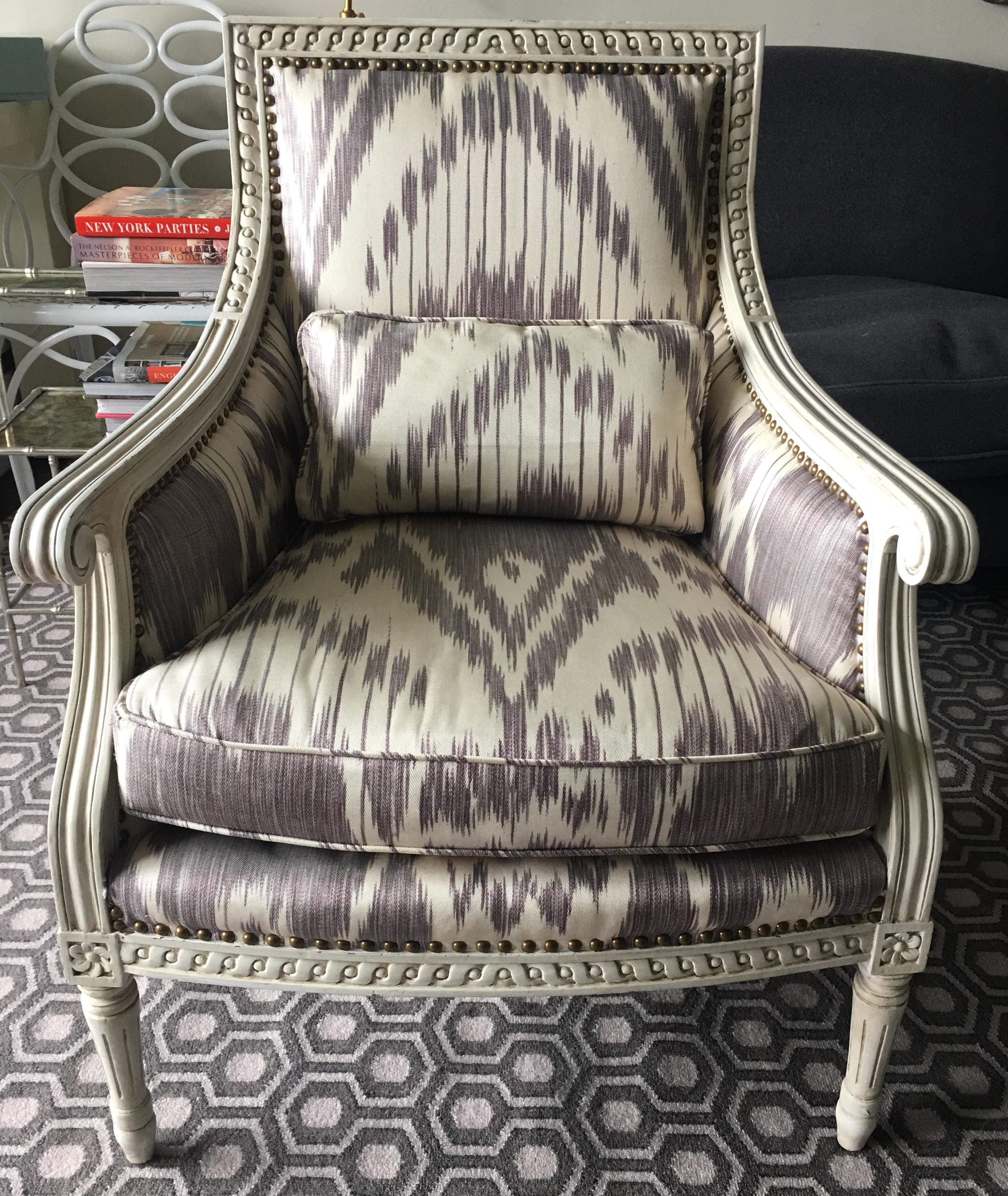 2000   2009 Oly Studio Hanna Purple Ikat Armchair For Sale   Image 5 Of 5