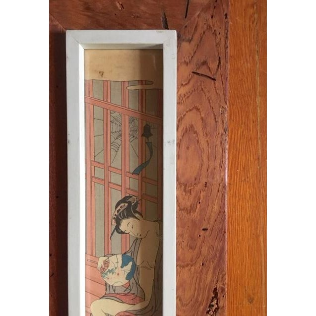 Japanese Asian Rustic Wood Framed Wood Block Print For Sale - Image 3 of 5