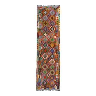 Pasargad DC Afghan Kilim Handspun Wool Rug - 2′8″ × 9′6″ For Sale