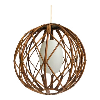 Vintage Lightolier Rattan Pendant Light For Sale