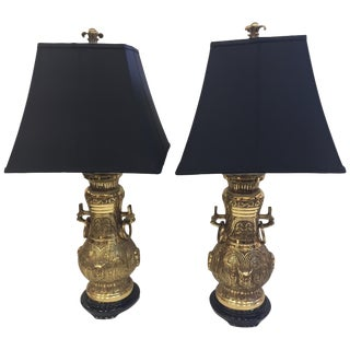 Pair of Impressive James Mont Monumental Large Brass Lamps For Sale