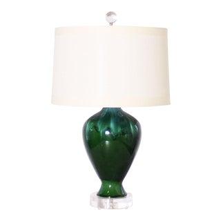 Green Drip Glaze Ceramic Lamp C. 1960 For Sale