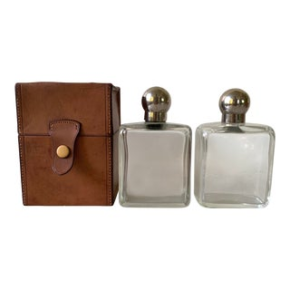 Travel Decanter Bar Set With Saddle Leather Box For Sale