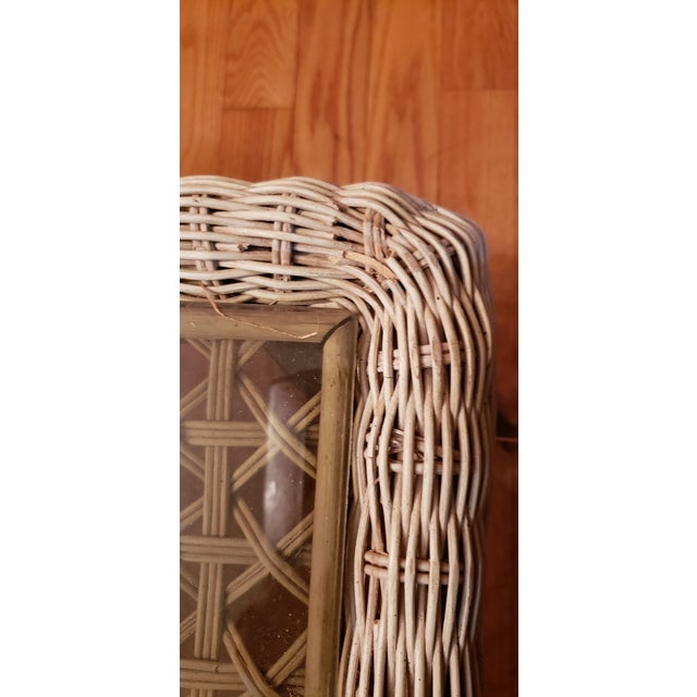 Shabby Chic Wrought Iron Table Set With Wicker Inlays and Smoked Glass Tops - a Pair For Sale - Image 12 of 13