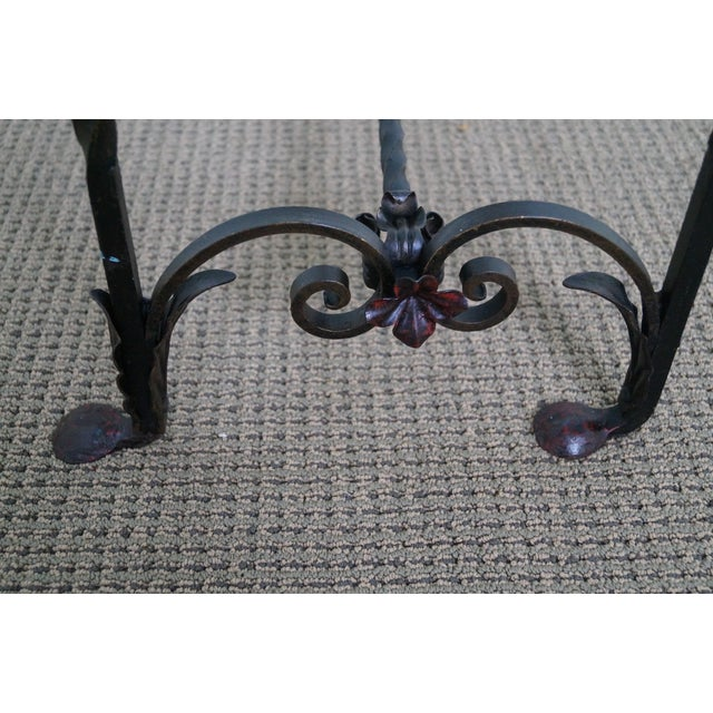 Antique Gothic Wrought Iron Marble Console Table - Image 9 of 10