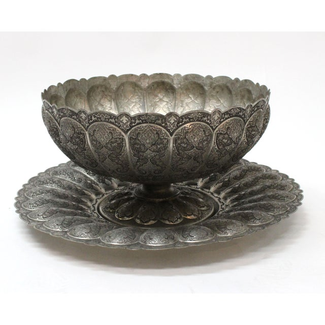 A stunning Persian engraved Ghalam Zani large punch bowl. A one-of-a-kind original Persian handicraft is engraved and...