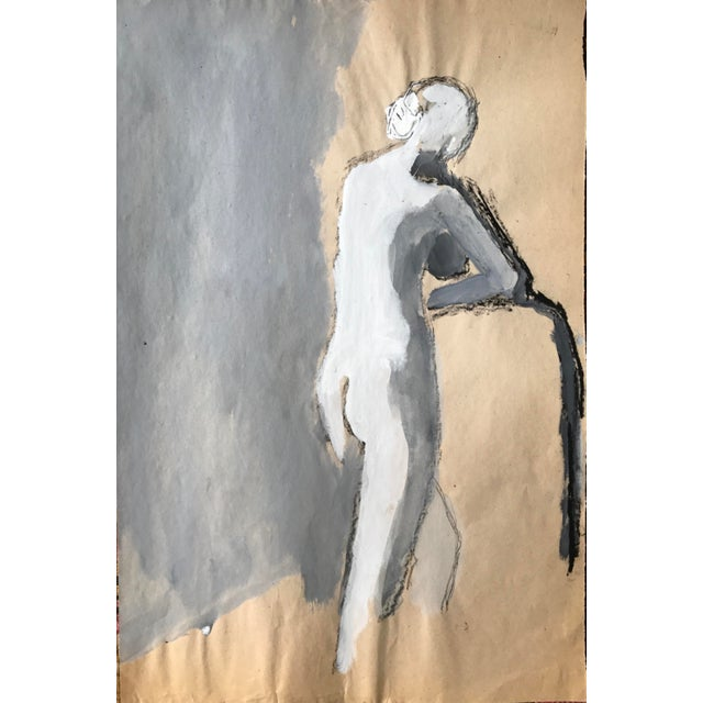 """1960s 1960s Bay Area Figurative Painting Female Nude """"Leg Stretch"""" For Sale - Image 5 of 5"""